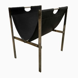 Industrial French Brass and Leather Magazine Rack, 1970s