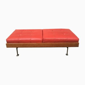 Vintage Leather and Palisander Bench, 1970s