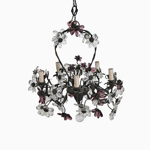 Art Nouveau Bronze and Murano Glass Flowers Chandelier, 1910s
