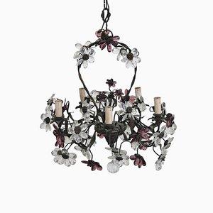 Lámpara de araña modernista de bronce y flores de cristal de Murano, años 10