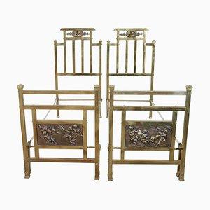 Vintage Brass & Bronze Single Beds, 1930s, Set of 2
