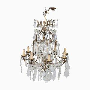 Lámpara de araña vintage de cristal y bronce, años 30