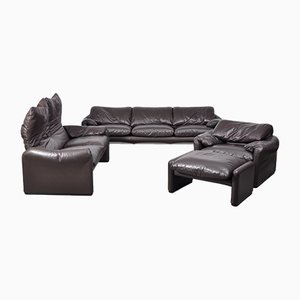 Vintage Italian Leather Modular Sofa Set by Vico Magistretti for Cassina