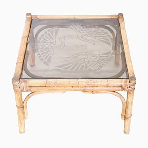 Art Deco Bamboo and Decorated Glass Coffee Table, 1930s