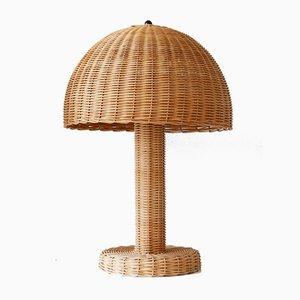 Lampes de Bureau Vintage en Rotin, 1970s, Set de 2