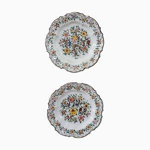 Platos de cerámica pintados a mano de Giovanni Notari para C. A. M. Gubbio, años 40. Juego de 2