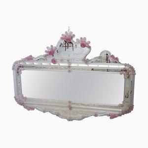 Espejo de pared italiano grande de cristal de Murano, años 30
