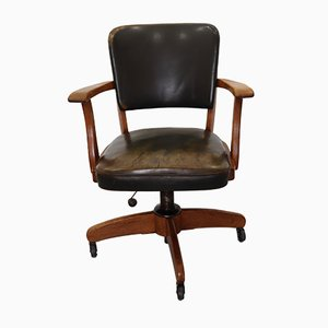 Industrial Leather and Wood Armchair by Stoll Giroflex, 1950s