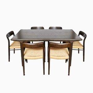 Mesa de comedor danesa de roble y papel y sillas de Niels Otto Møller para J.L. Møllers, años 70