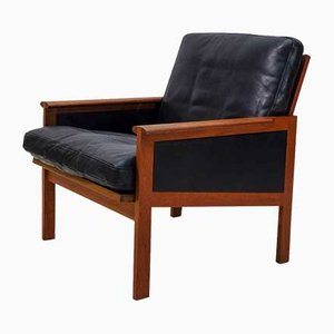 Danish Leather and Teak Lounge Chair by Illum Wikkelsø for Niels Eilersen, 1950s