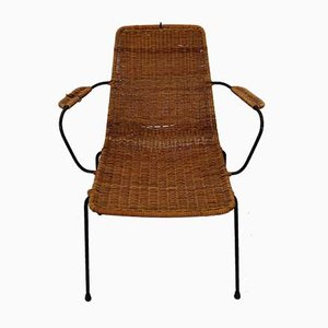 Italian Rattan and Steel Basket Chair by Gian Franco Legler, 1950s