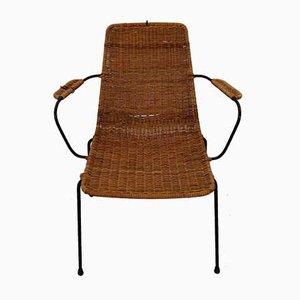 Italienischer Basket Stuhl aus Rattan & Stahl von Gian Franco Legler, 1950er