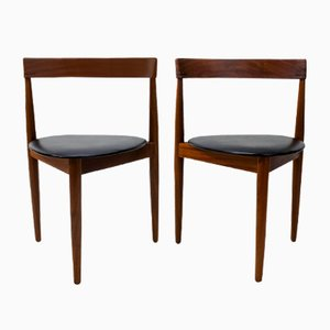 Danish Leatherette and Teak Dining Chairs by Hans Olsen for Frem Røjle, 1950s, Set of 2