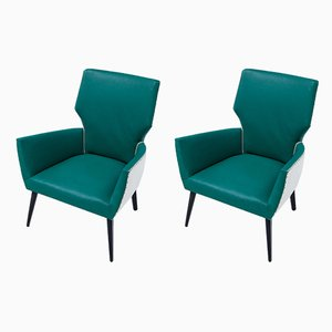 Italienische Mid-Century Sessel mit Bezug aus Kunstleder, 1960er, 2er Set