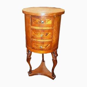 Antiker zylinderförmiger Nachttisch im Empire-Stil, 1820er