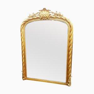Espejo antiguo con hojas doradas, década de 1850