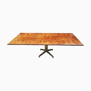 Mid-Century Italian Elm Burr & Chrome Dining Table