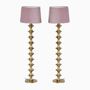 Scandinavian Modern Brass Floor Lamps, 1960s, Set of 2