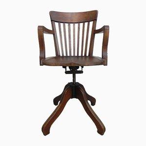 Chaise de Bureau Industrielle en Fonte et Chêne, France, 1930s