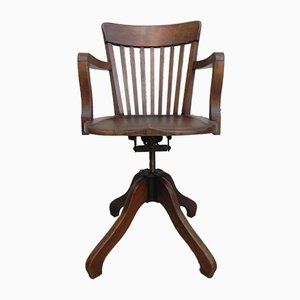 Industrial French Cast Iron and Oak Desk Chair, 1930s