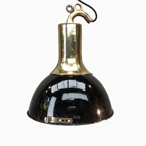 Industrial German Brass & Enamel Ceiling Lamp, 1950s