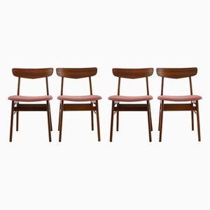 Chaises de Salle à Manger en Hêtre et Tissu, Danemark, 1960s, Set de 4