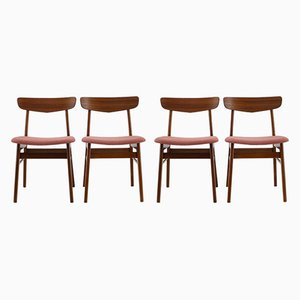 Danish Beech and Fabric Dining Chairs, 1960s, Set of 4