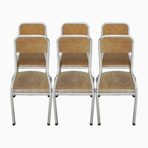 Industrial French School Chairs, 1950s, Set of 6