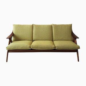 Sofá de tres plazas modelo De Knoop de teca y Tweed de De Ster Gelderland, años 60