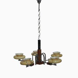 Lámpara de araña Art Déco de latón, cromado y madera, años 30
