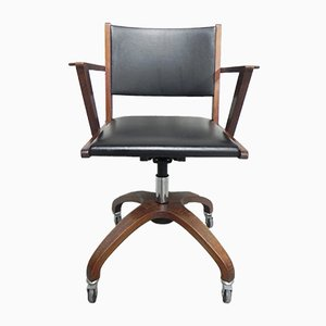 Mid-Century French Oak and Skai Swivel Desk Chair, 1960s
