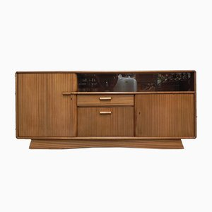 Mid-Century Glass and Mahogany Sideboard, 1950s