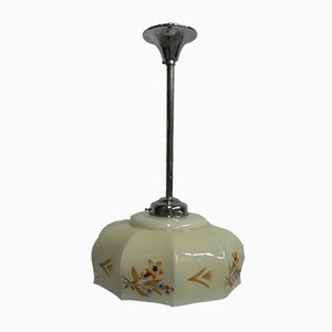 Art Deco Chrome Plating and Copper Ceiling Lamp, 1930s