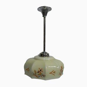 Art Deco Deckenlampe aus verchromtem Metall & Kupfer, 1930er