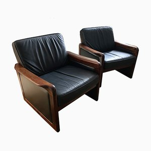 Danish Rosewood & Black Leather Lounge Chairs from Dyrlund, 1960s, Set of 2