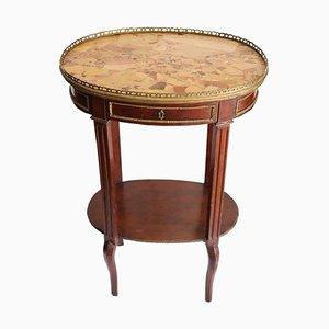 Tavolino antico in mogano e bronzo dorato con ripiano in marmo, fine XIX secolo