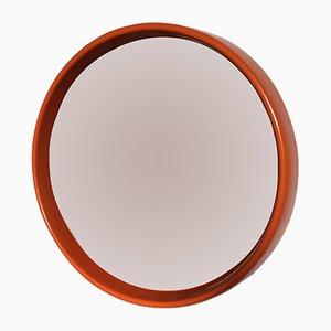 Vintage Spiegel mit rundem orangefarbenem Rahmen, 1970er