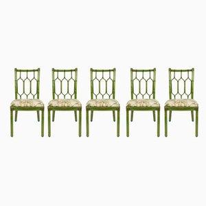 Esszimmerstühle aus Leder & Bambus im Bohemien-Stil, 1970er,4 er Set
