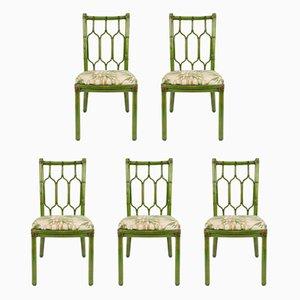 Esszimmerstühle aus Leder & Bambus im Bohemien-Stil, 1970er, 5er Set