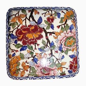 Französisches Keramiktablett mit floralem Muster, 1980er