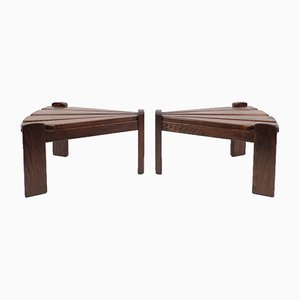 Brutalist Dutch Wooden Side Tables from Van Gils, 1960s, Set of 2