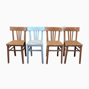 Mid-Century Italian Beech Dining Chairs, 1950s, Set of 4