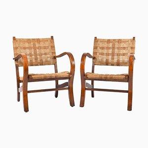 Bauhaus Sessel mit Gestell aus Buche & Seilgeflecht von Erich Dieckmann, 1920er, 2er Set