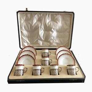 Juego de vasos y platillos ingleses antiguos de porcelana con hueso de Aynsley para Charles S Green & Co. Ltd, 1911