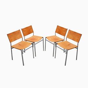 Chaises de Salle à Manger SZ01 en Chrome et Cuir par Martin Visser pour t Spectrum, 1960s, Set de 4