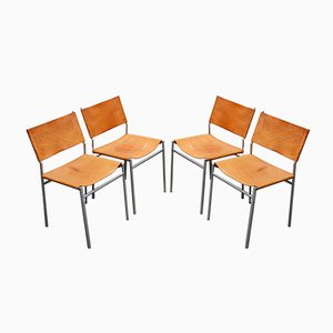 SZ01 Esszimmerstühle mit verchromtem Gestell & Lederauflage von Martin Visser für t Spectrum, 1960er, 4er Set