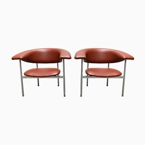 Poltrone in metallo cromato e skai di Rudolf Wolf, anni '60, set di 2