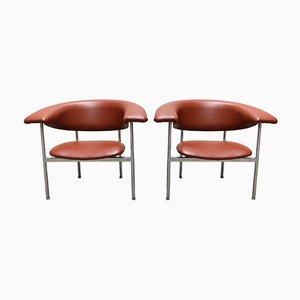 Sessel aus verchromtem Metall & Skai von Rudolf Wolf, 1960er, 2er Set