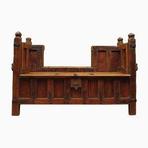 Rustikale antike Bank aus Palisander & Teak