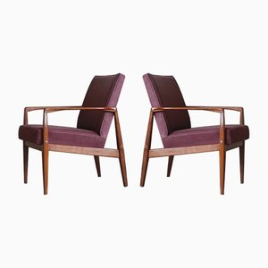 Vintage Danish Velvet Armchairs, 1970s, Set of 2
